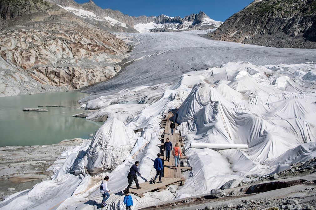 The Rhone Glacier in Switzerland is covered with blankets to keep it from melting, July 18, 2020.