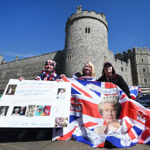 Royalists celebrate Queen Elizabeth's 90th birthday at Windsor Castle.