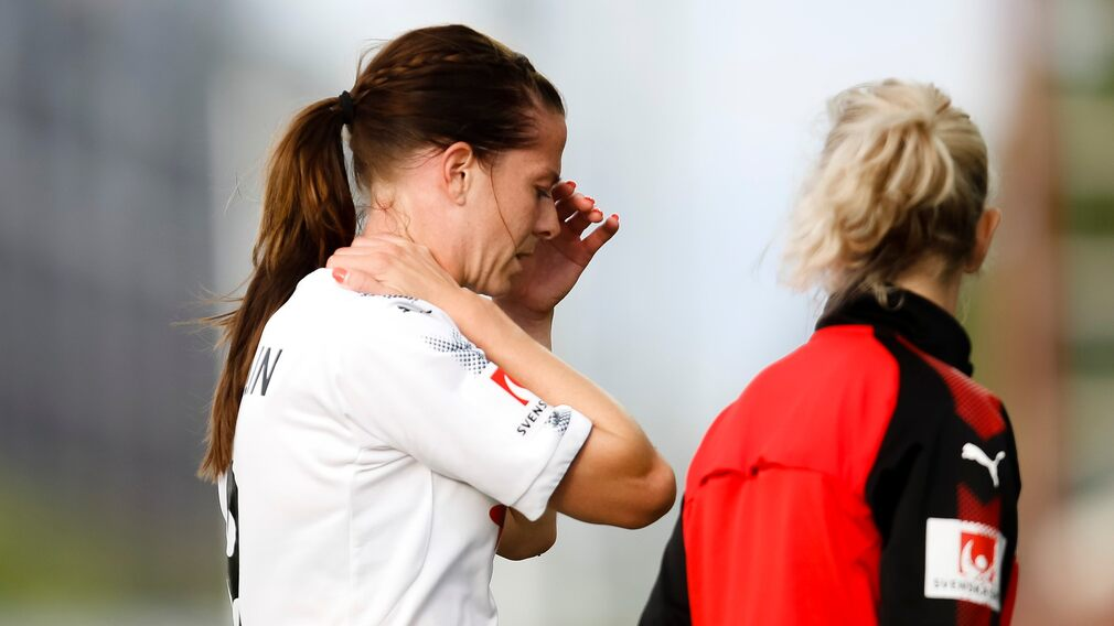 Swedish soccer star Lotta Schilin in Rosengård shirt after the hit in damallsvenskan 2017 which later ended her career entirely.