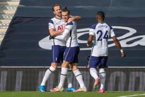 Harry Kane, Gareth Bale and Serge Aurier celebrate the goals.