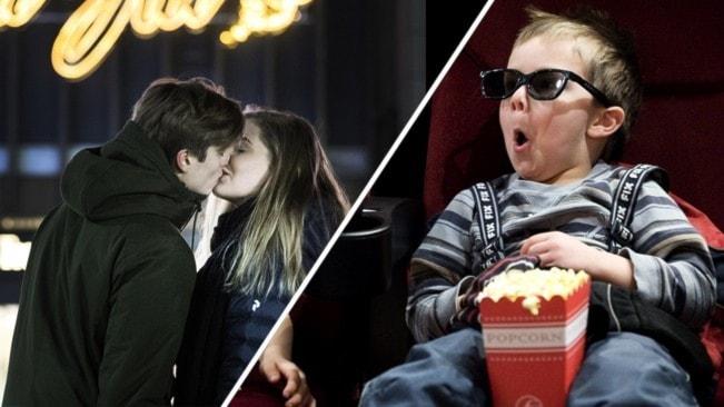 Ett par som pussas framför en neonskylt och ett barn som äter popcorn på bio.