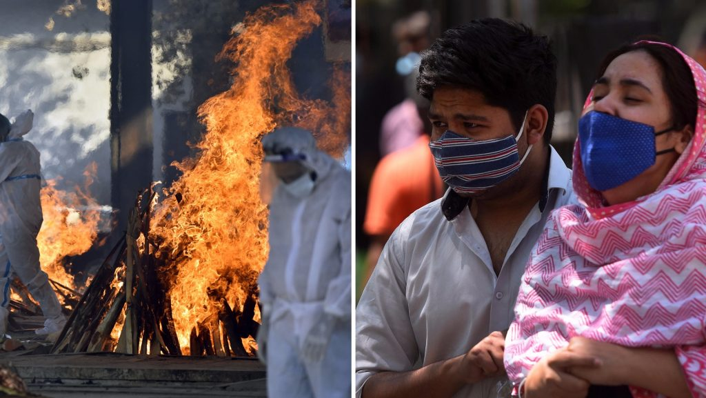 The dead are burned outside hospitals in India