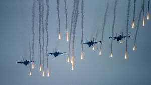Warplanes train during a military exercise called Zabat.