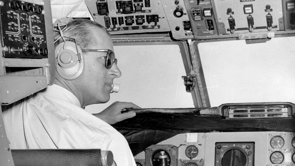 Prince Philip in the cockpit during a flight in 1962 between Bogot and Cartagena.
