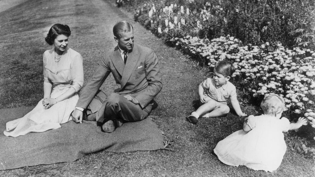British royal family at Clarence House Garden, London, 1951.