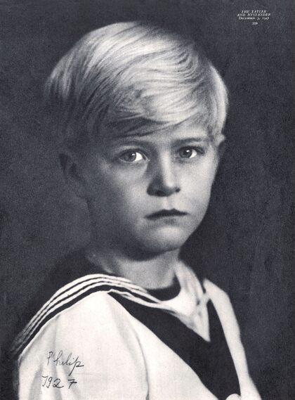 Prince Philip in a sailor costume, 1927.