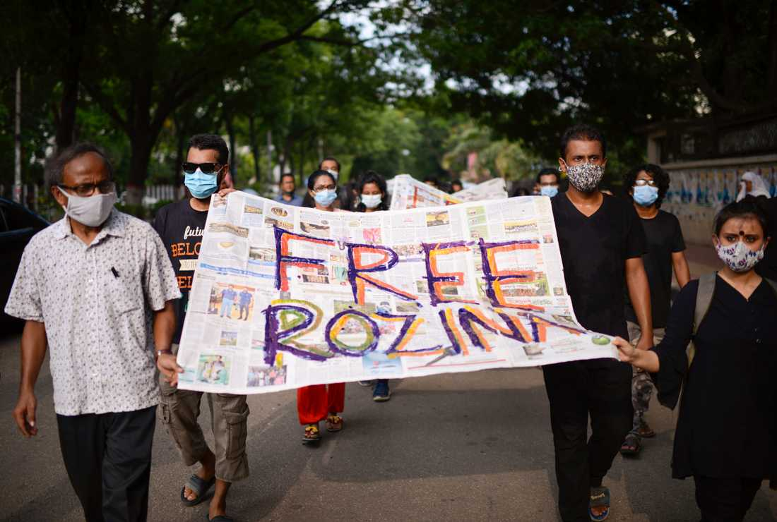 Journalist Rosina Islam's prison in Bangladesh sparked protests in several parts of the country, here in the capital Dhaka on May 20.