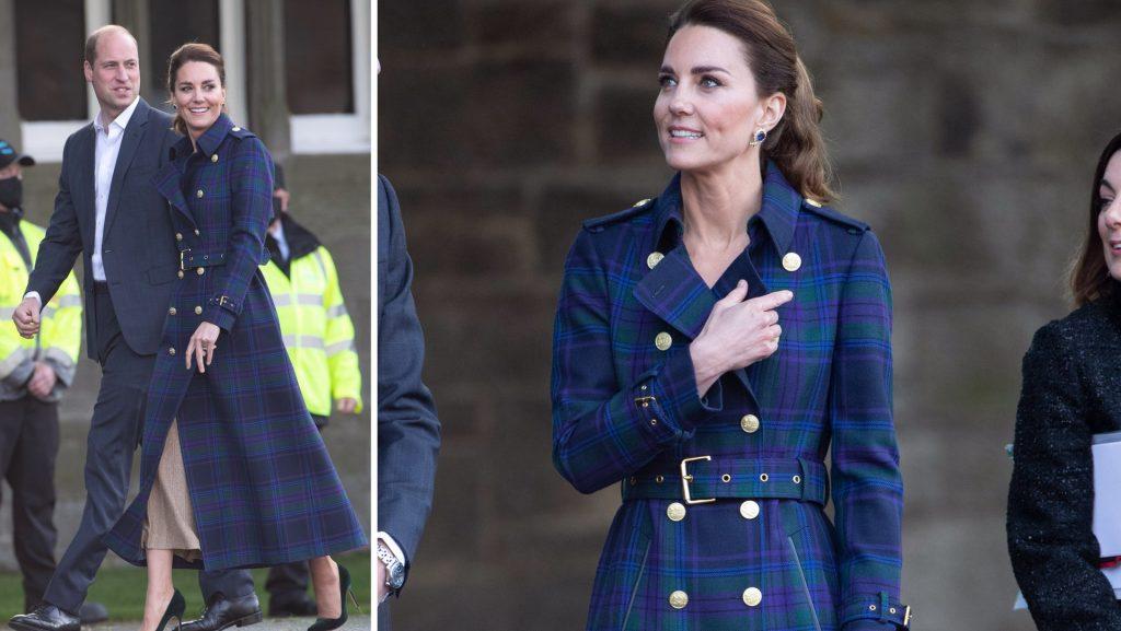 Kate Middleton wore a fancy long coat in a blue tweet