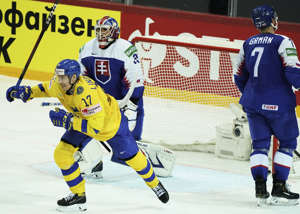 Swedish cheers again?  Bar Lindholm cheered following one of Sweden's goals in the 3-1 win over Slovakia last night.  Will there be new cheers against dream opponent Russia?