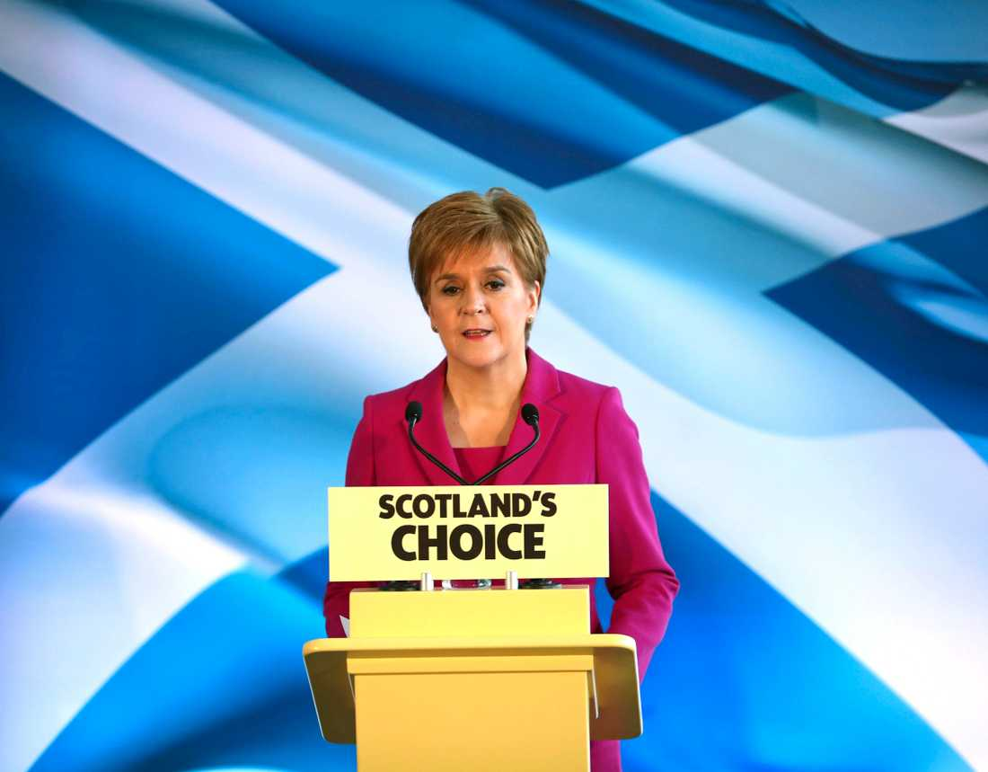 Nationalist Party SNP leader Nicola Sturgeon during a speech in 2019.