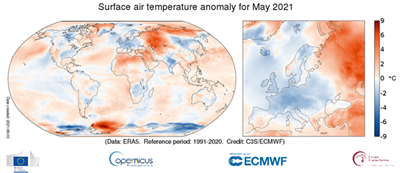 Coldest spring in Europe since 2013. But globally, May temperatures are above average
