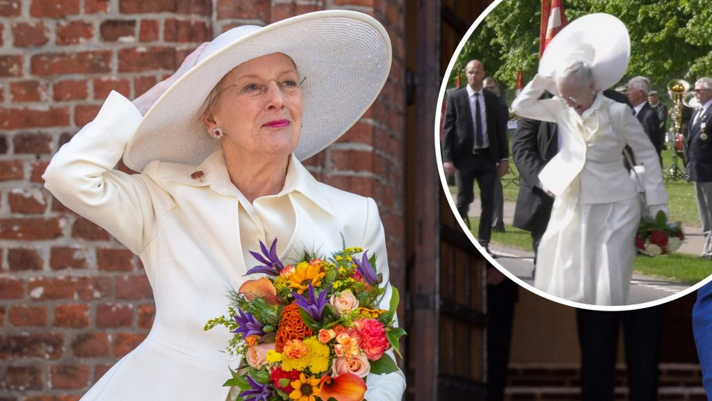 Queen Margaret's hat flutters in the breeze