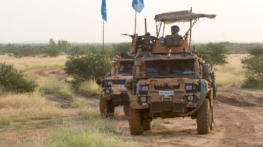 Swedish UN soldiers from the shooting company in Mali patrol the 16 off-road vehicle (called Galten).