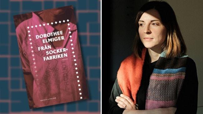 """Porträtt av den schweiziska författaren Dorothee Elmiger klädd i färgglad stockad sjal. Infällt är omslaget till hennes bok """"Från sockerfabriken""""."""