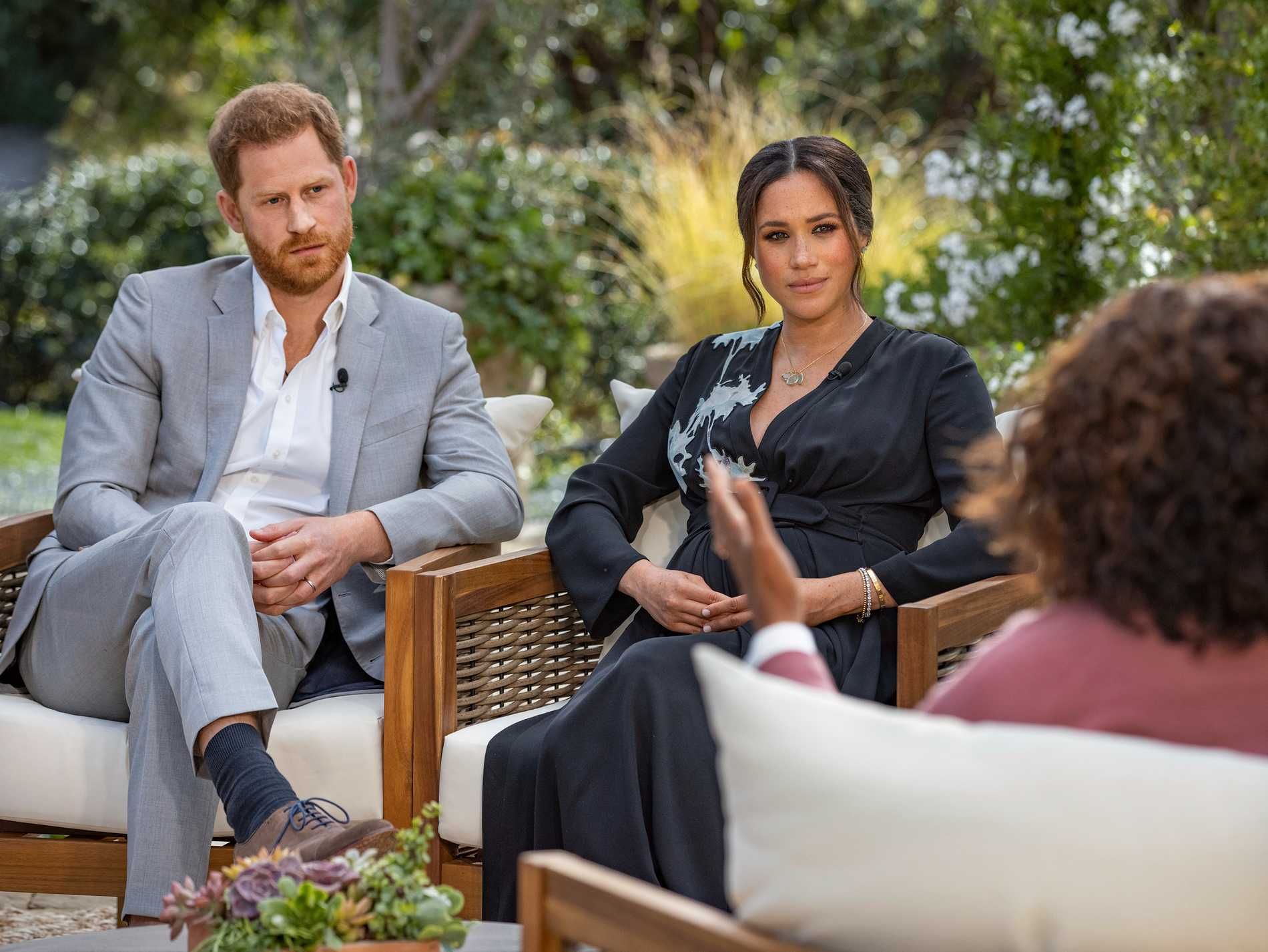 Oprah Winfrey's interview with Prince Harry and Meghan will be broadcast on Monday.