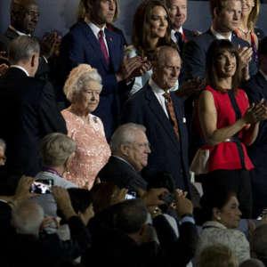 120727 2012 Olympics, Opening: The Queen of England, Elizabeth II, The Queen, Jacques Rogge, International Olympic Committee.  © Bildbyrån - 98075 - Photo: Nils Jakobsson / Bildbyrån