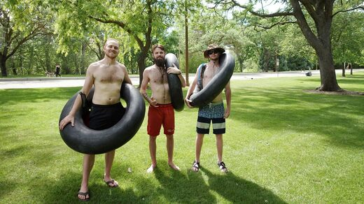 Parker Parson, Johnny Camucci and Jason Thorne went swimming on the river.