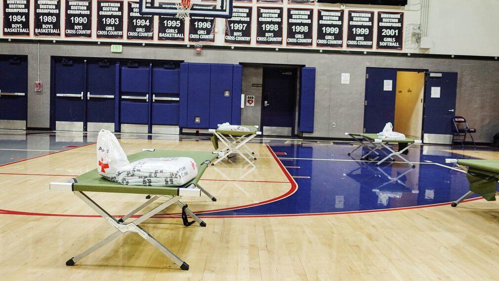 Red Cross evacuation center.