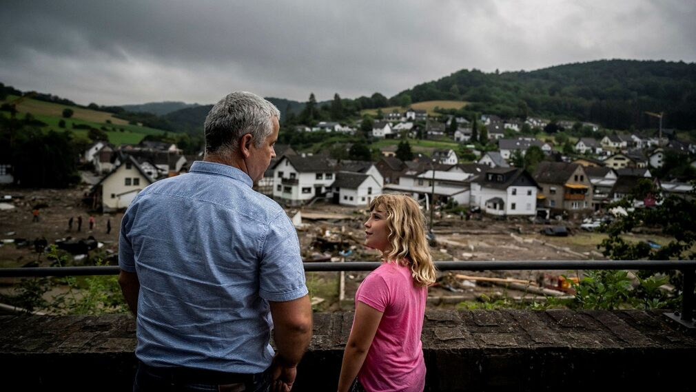 Harald Nöppingen with his daughter Karina.  They lived on a hill above the village.