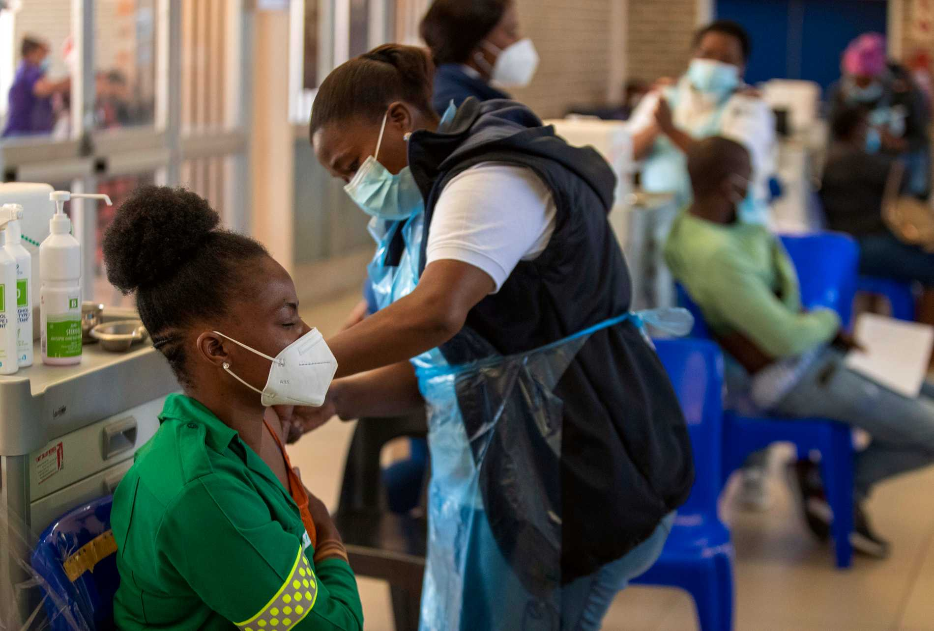 Ambulance nurse Khansani Chauk receives a dose of the COVID-19 vaccine from Johnson & Johnson in Johannesburg, on March 26 this year.