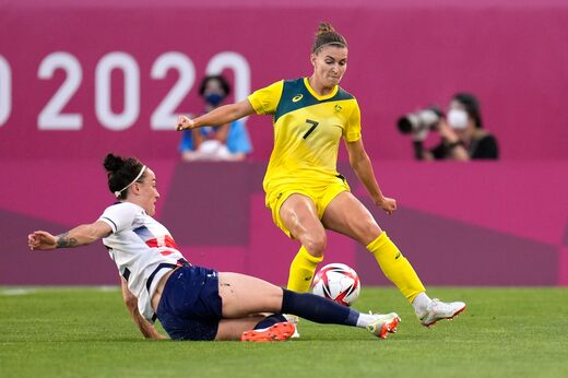 Arsenal defender Step Cadley, Australia in the Olympic quarterfinals against Great Britain.