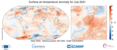The second warmest July measured in Europe
