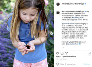 On Instagram, the Princess and Princess have posted this beautiful picture of Princess Charlotte with a butterfly in her hand.