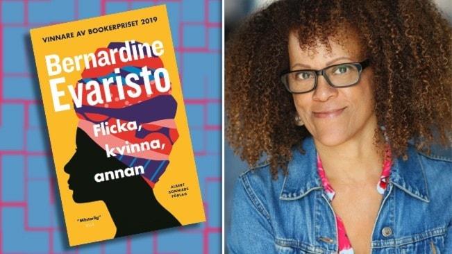 """Författaren Bernardine Evarist, med stort lockigt hår, klädd i jeansjacka och cerise blus. Infällt i bilden är omslaget till hennes bok """"Flicka, kvinna, annan""""."""