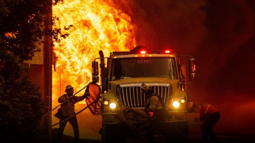 The community caught fire when wildfires spread in California