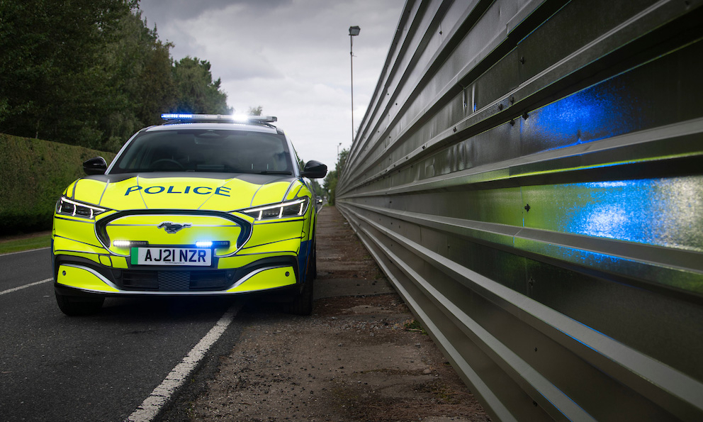 British police drive a Ford Mustang Mach E