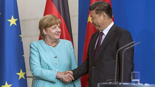 Chancellor Angela Merkel has been keen to maintain a good relationship with China.  The photo is from an official visit by President Xi Jinping to Berlin in 2017.