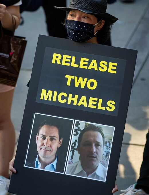 A demonstration for the release of Michael Kovrig and Michael Spavor in Hong Kong 2020. The two were released in China on Friday.