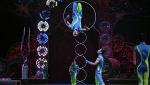 Acrobats during a show in New York 2016