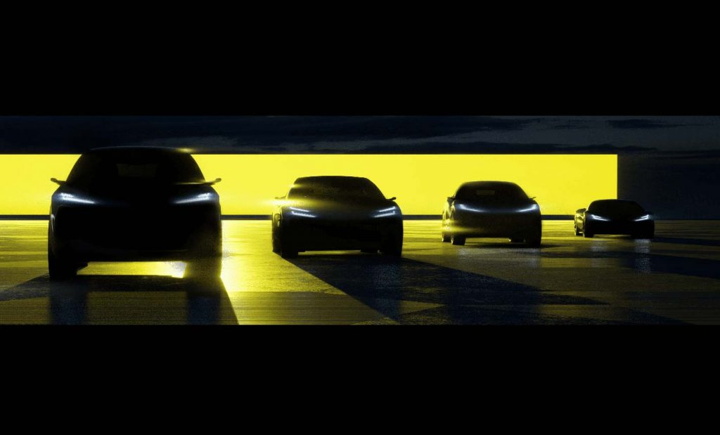 Lotus shows a teaser image of four new electric cars - first coming in 2022