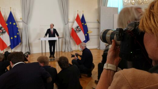 Media attention was high when the new chancellor, Alexander Schallenberg, made his first statement on Monday.